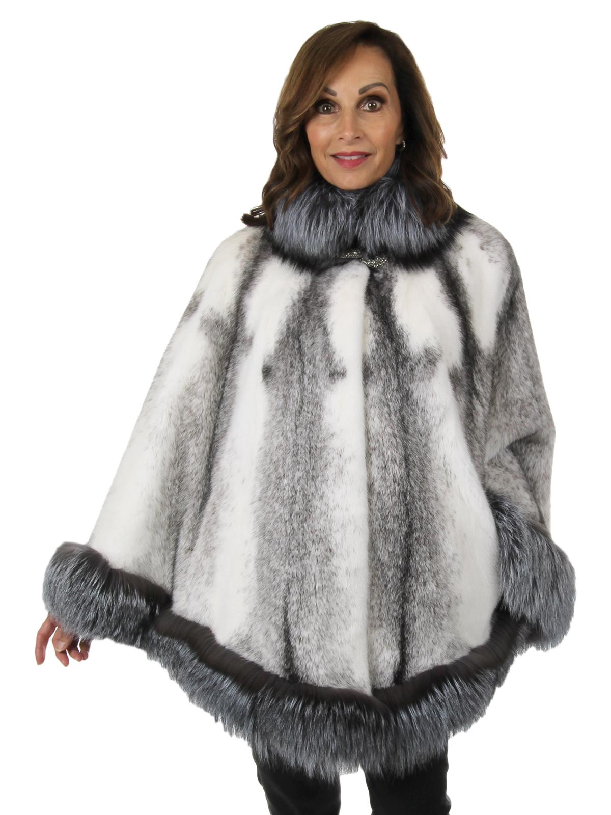 Woman's New Black Cross Mink Fur Cape