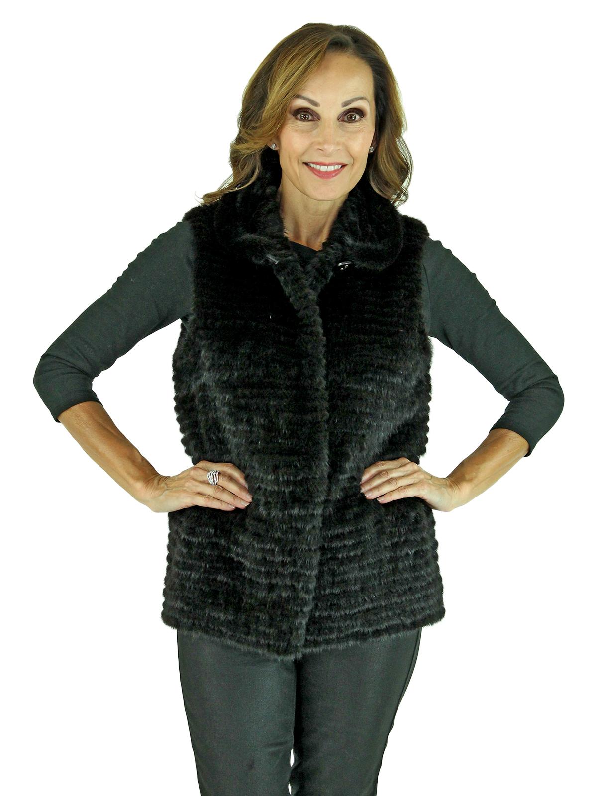 Gorski Woman's Petite Black Mink Fur Vest
