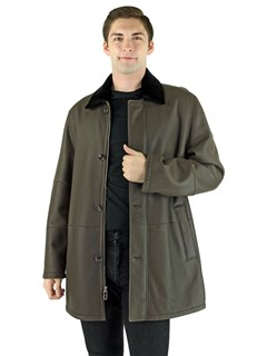 Man's Dark Brown and Slate Shearling Coat