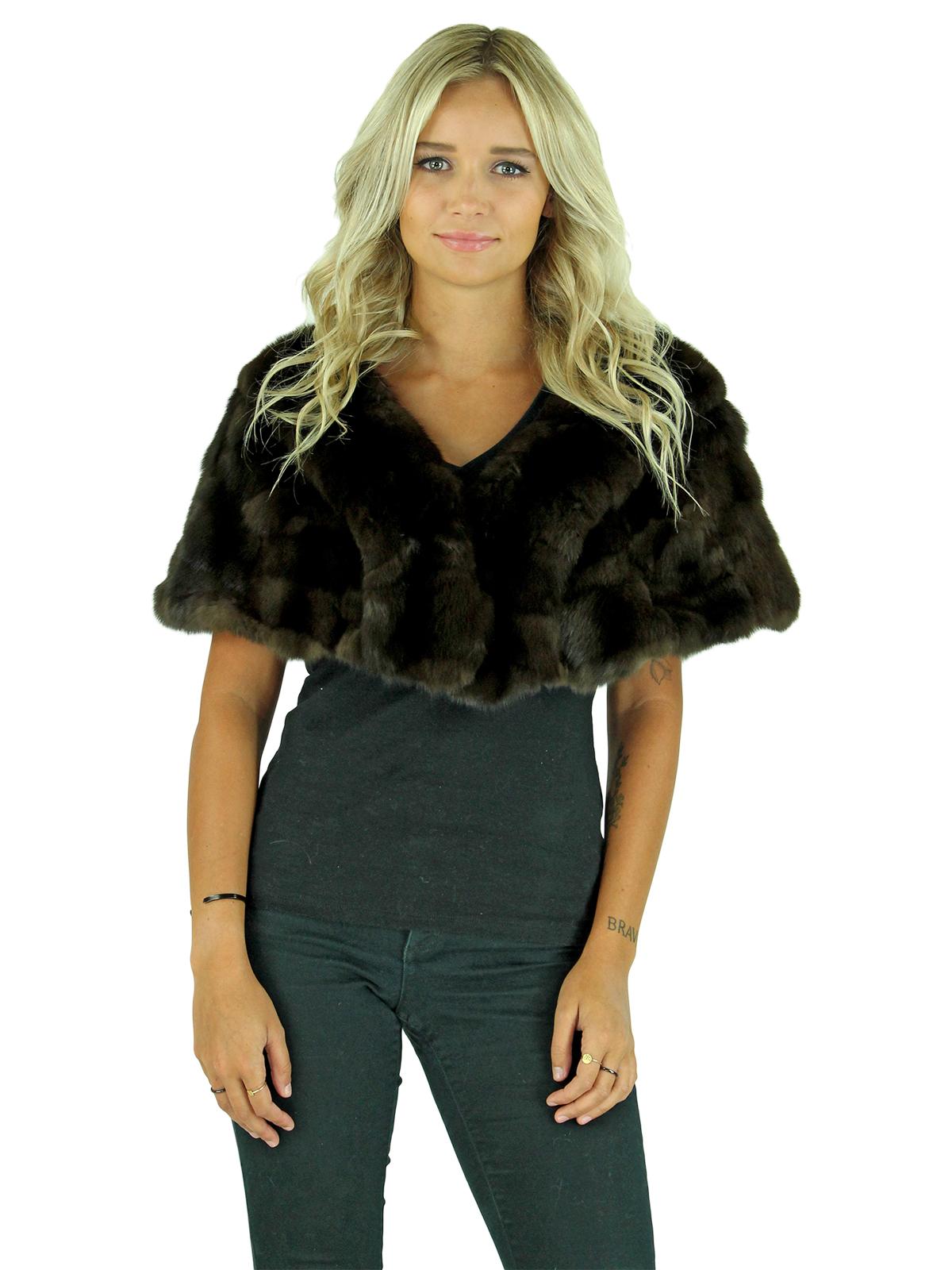 Woman's Natural Dark Brown Gorski Sable Fur Shawl