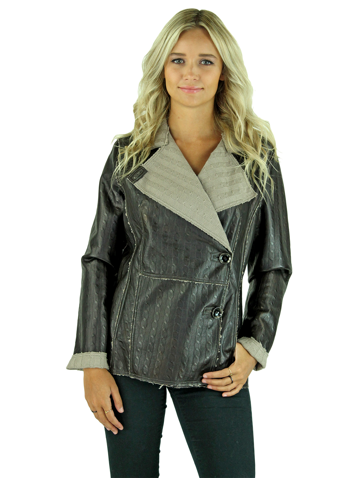 Woman's Brown Leather Knit Jacket