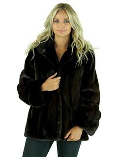 Gorski Woman's  Mahogany Semi-Sheared Mink Fur Parka