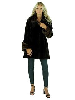 Woman's Mahogany Sheared Mink Fur Jacket