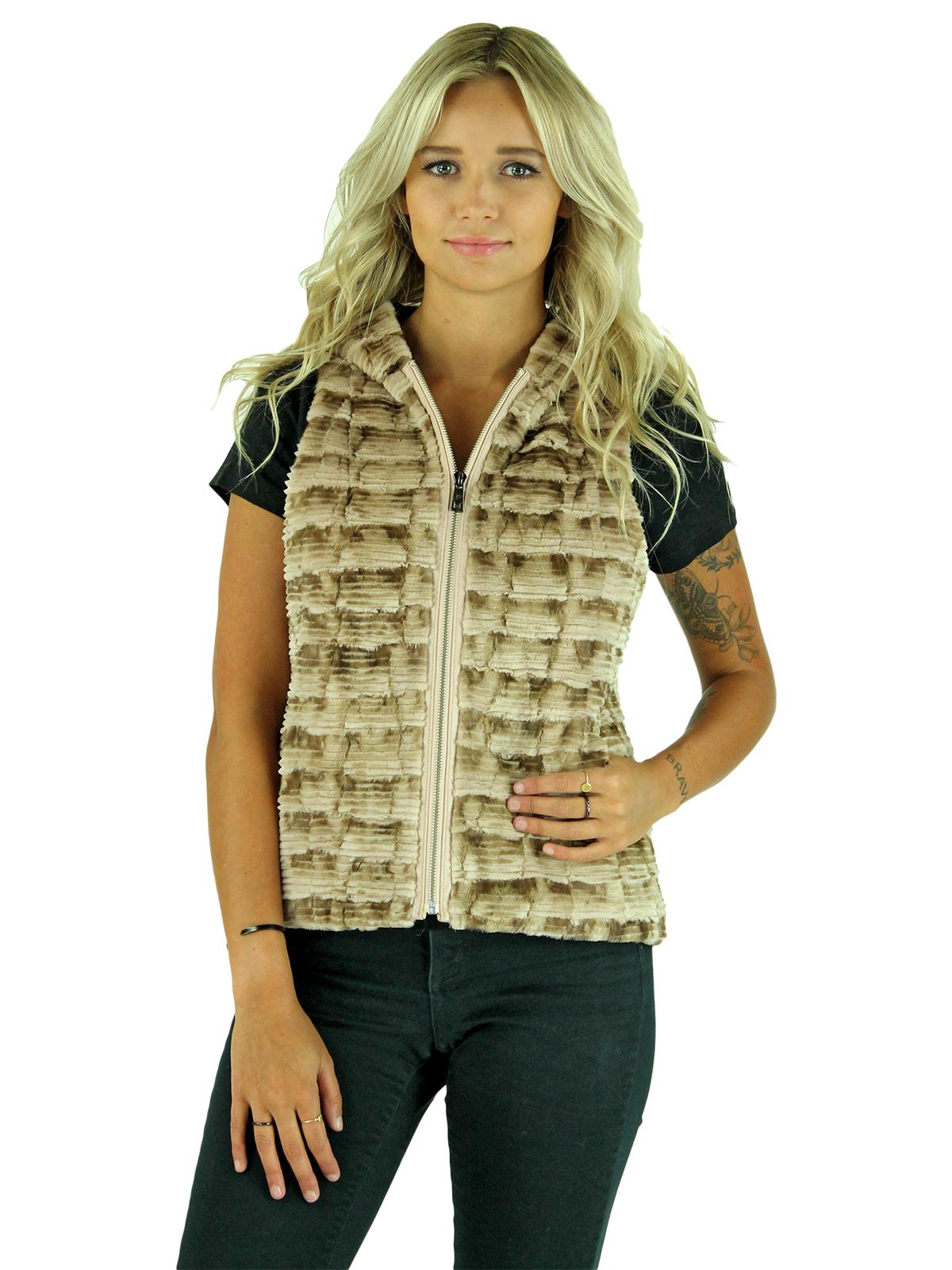 Woman's Beige Sectioned Mink Fur Vest