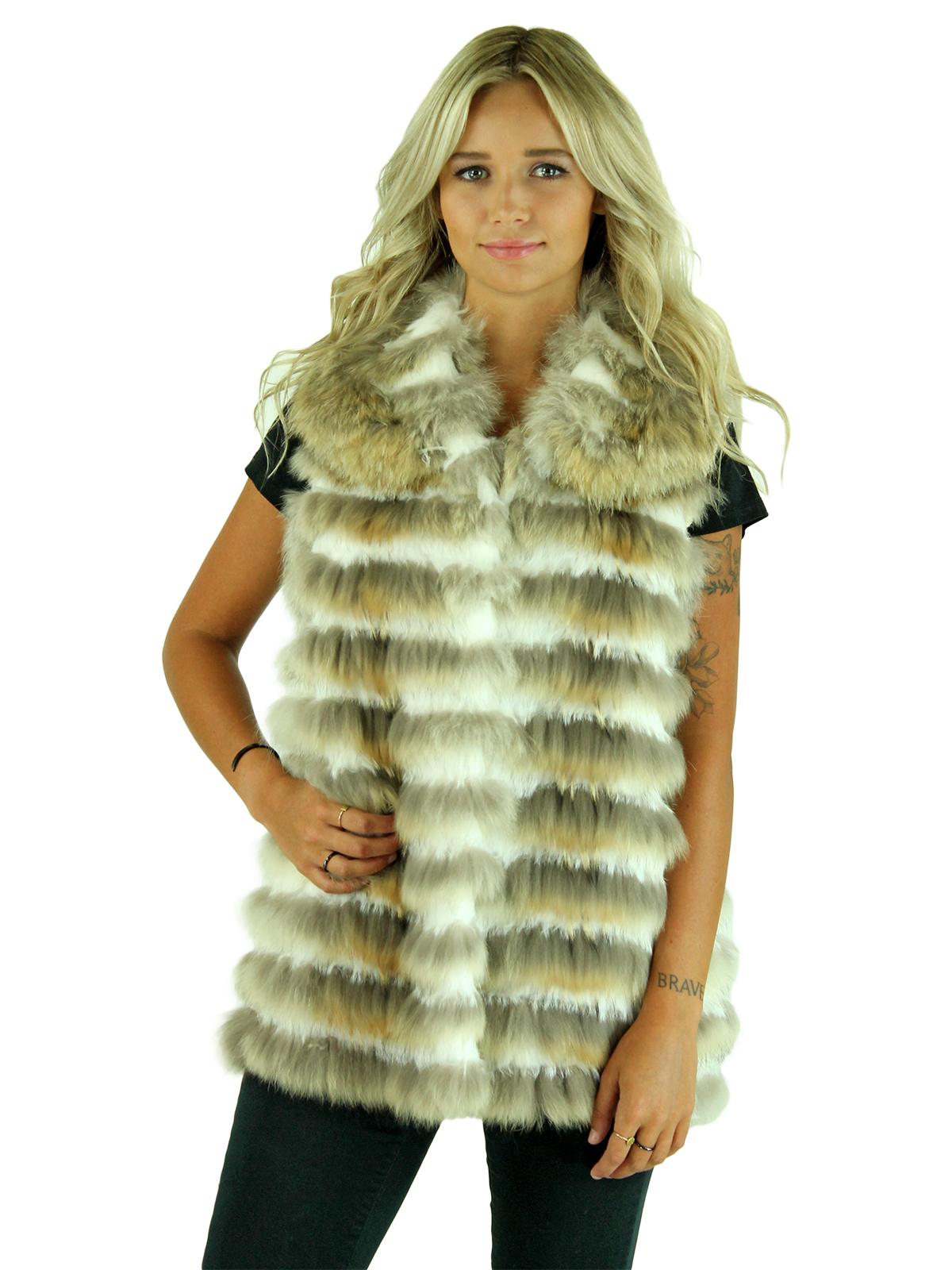 New Gorski Woman's Coyote with Rabbit Fur Vest