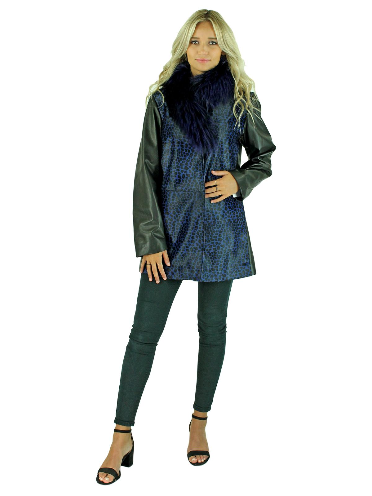 Blue Leopard Calf Leather Jacket