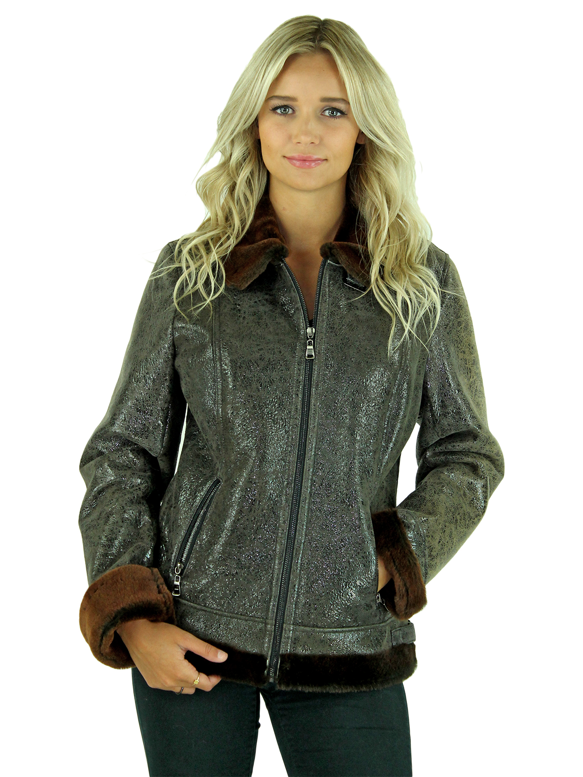 Woman's Brown Fitted Shearling Jacket