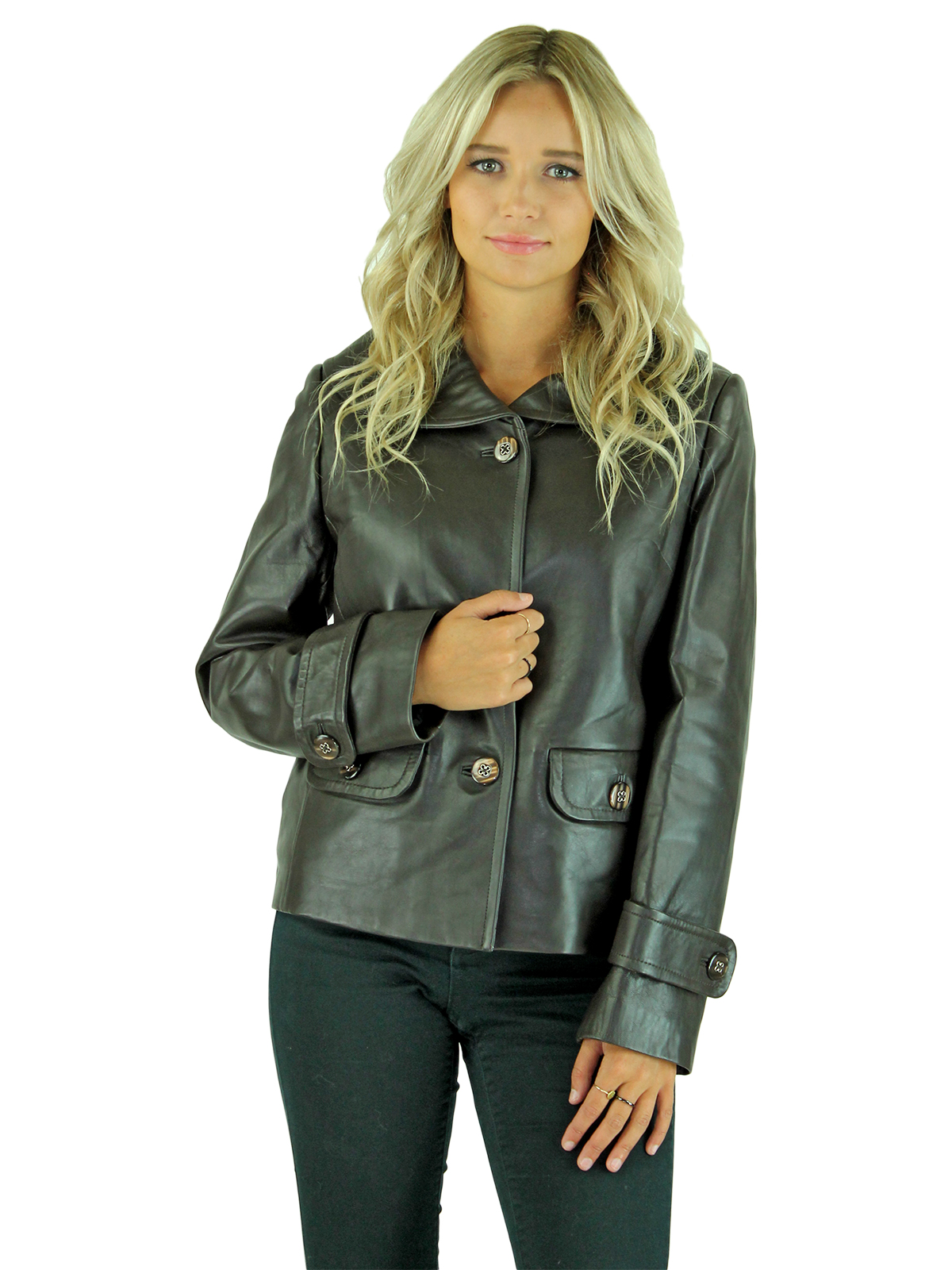 Woman's Dark Chocolate Brown Leather Jacket with Zip Out Lining