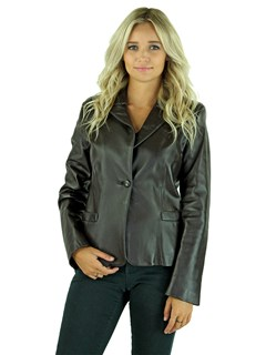 Woman's Brown Leather Blazer