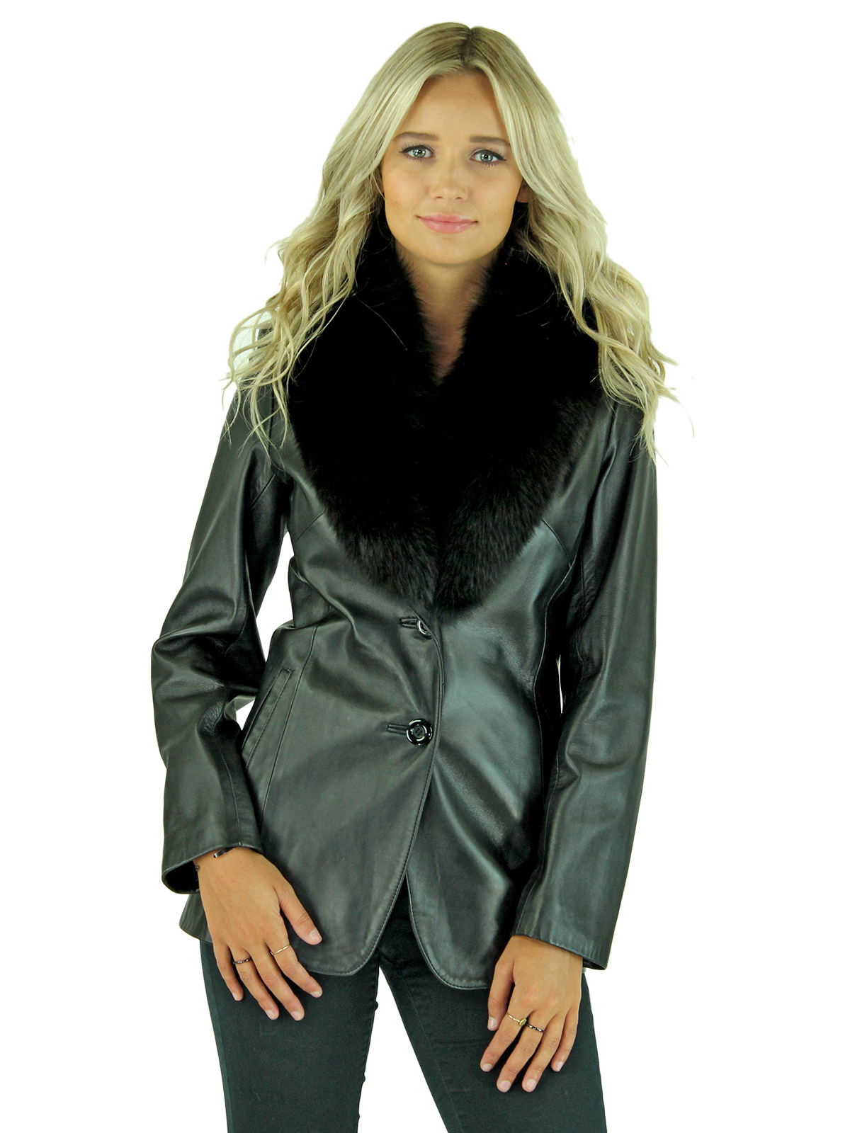 Woman's Petite Black Leather Jacket with Removable Fox Collar