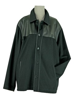 Man's Black Cashmere Jacket with Black Leather Trim