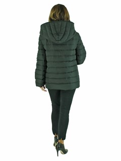 Woman's Black Quilted Down Fabric Jacket with Zip-out Multicolored Mink Liner