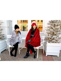 Red Knitted Rex Rabbit Fur Blanket
