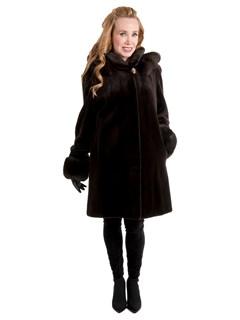Women's Brown Sheared Mink Fur Stroller with Detachable Hood