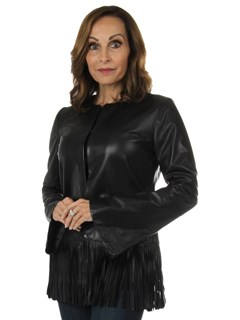 Woman's New Carolyn Rowan Maxwell Black Lamb Leather Jacket