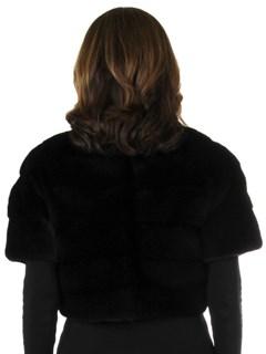 Woman's New Carolyn Rowan Black Mink Fur Horizontal Bolero Jacket