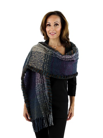 Purple and Slate Woven Fabric Scarf with Mink Fur Trim