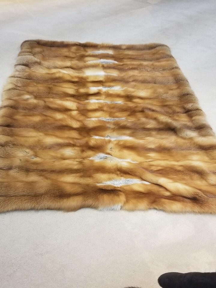 Natural Red Fox Fur Blanket