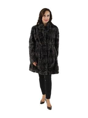 Woman's Blue Iris Sheared Mink Fur Section Stroller