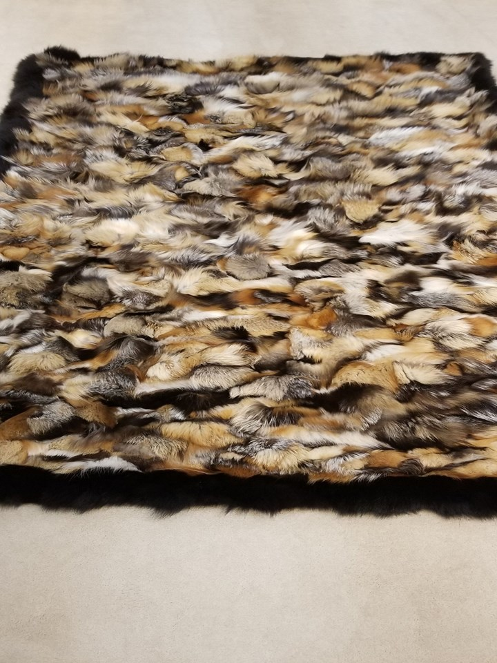 Natural Cross Fox Fur Blanket