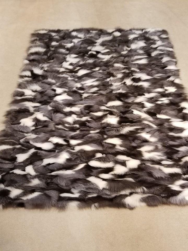 Natural Platinum Fox Fur Blanket