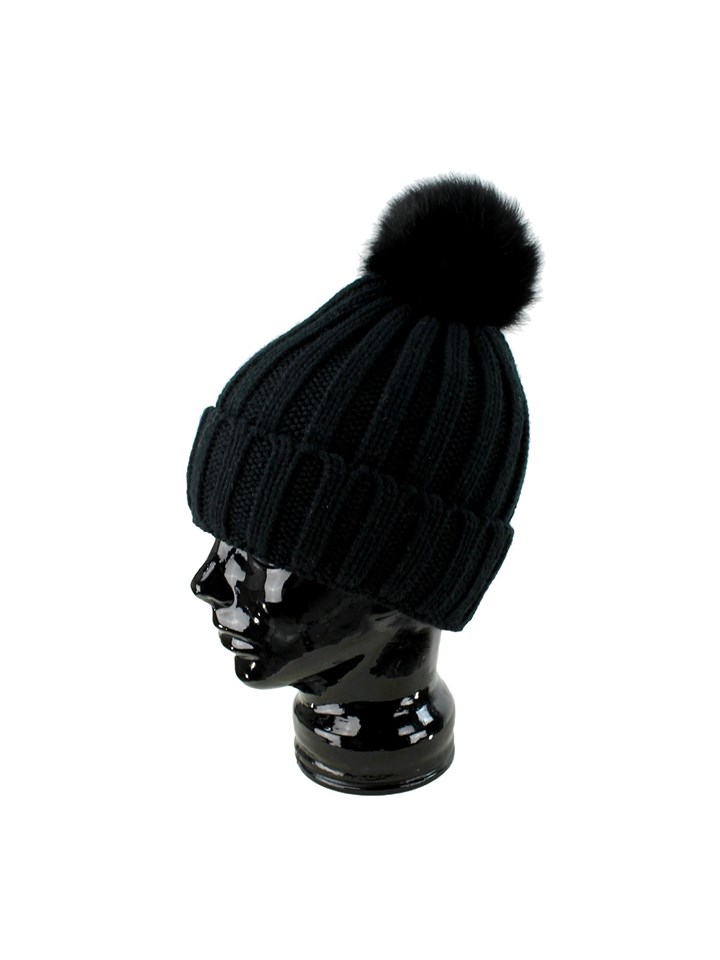 Woman's Black Knit Hat with Black Fox Fur Pom Pom