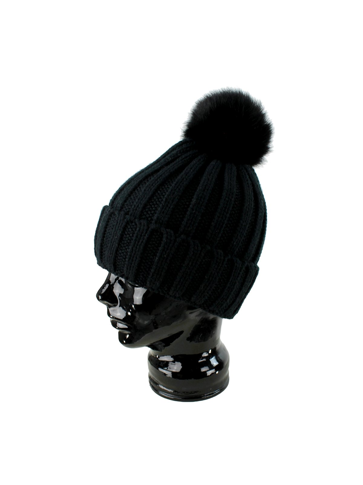 Woman's Black Knit Hat with Black Fox Fur Pom Pom