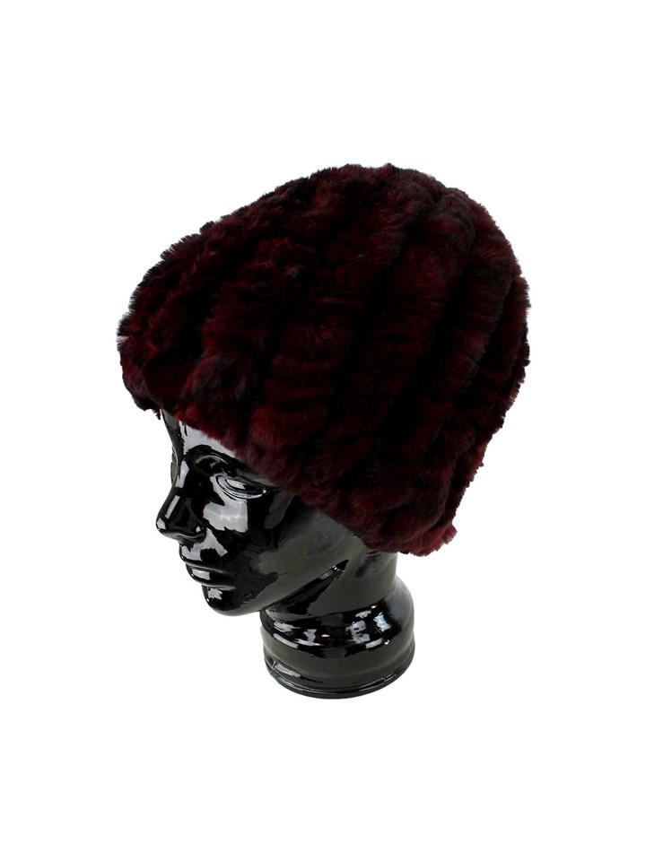 Woman's Black and Red Knit Rex Rabbit Fur Hat