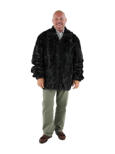 Men's Charcoal Grey Mink Section Fur Jacket