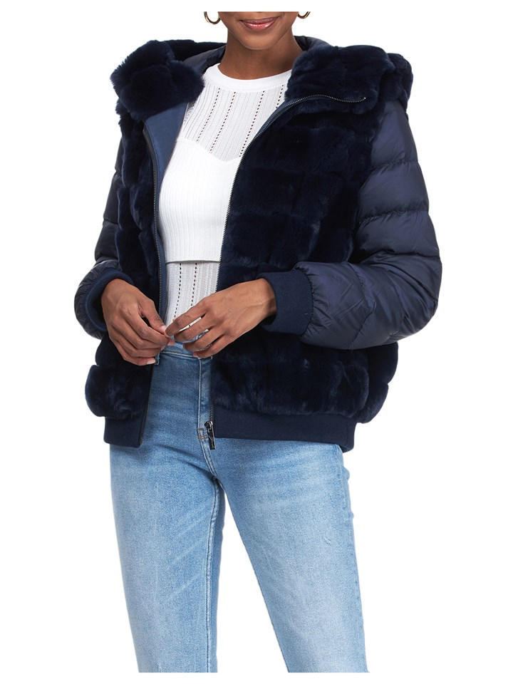 Gorski Woman's Navy Rex Rabbit Fur Jacket with Detachable Sleeves