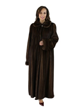 Gorski Woman's Scan Brown Full Length Mink Fur Coat