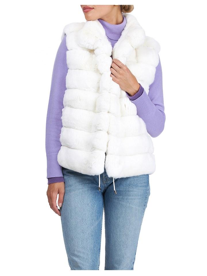 Gorski Woman's White Chinchilla Fur Vest