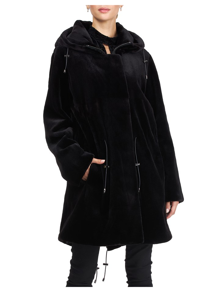 Gorski Woman's Black Dyed Sheared Mink Fur Parka