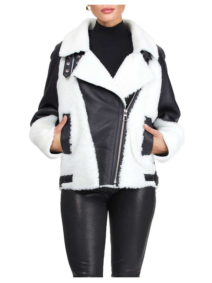 Gorski Woman's Black and White Shearling Lamb Jacket