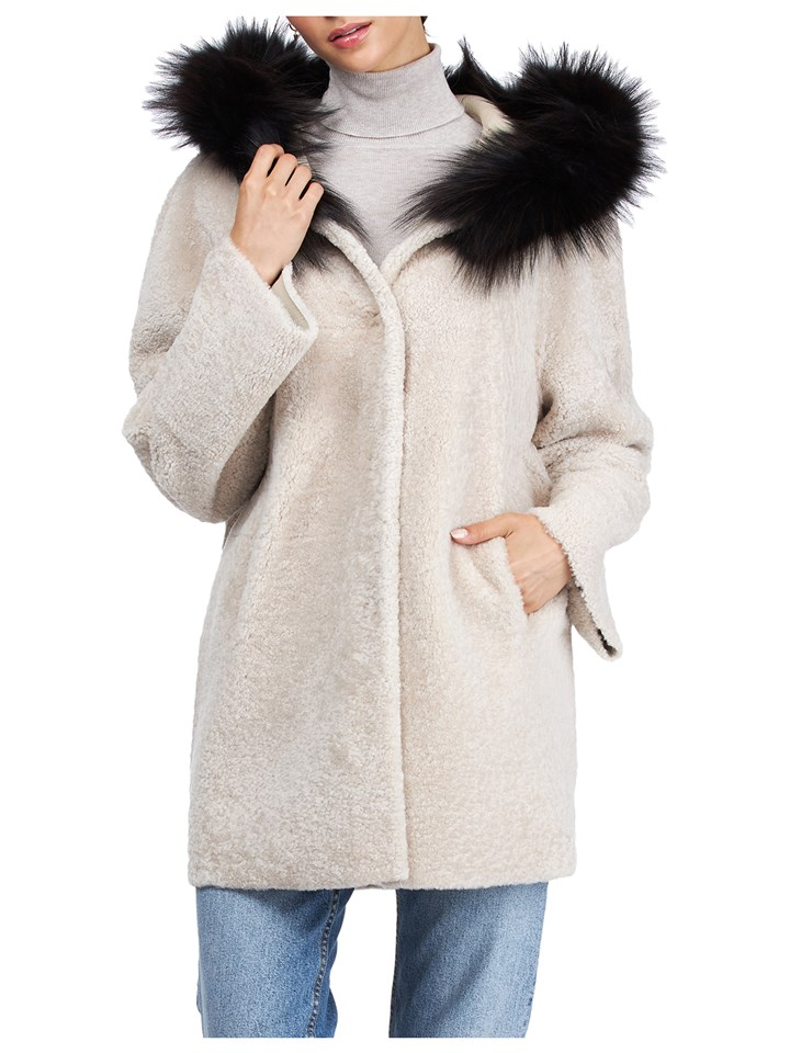 Gorski Woman's Black and Silver Shearling Lamb Fur Jacket
