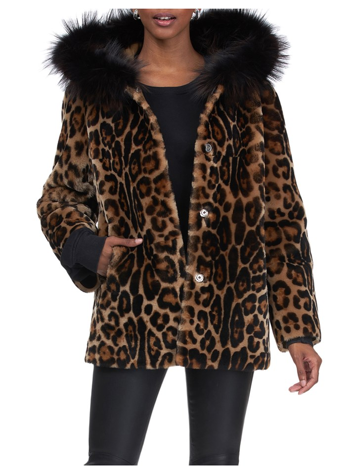 Gorski Woman's Brown Leopard Print Dyed Shearling Lamb Jacket