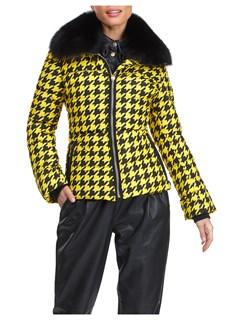 Gorski Woman's Apres-Ski Yellow and Black Houndstooth Jacket with Detachable Fox Fur Collar