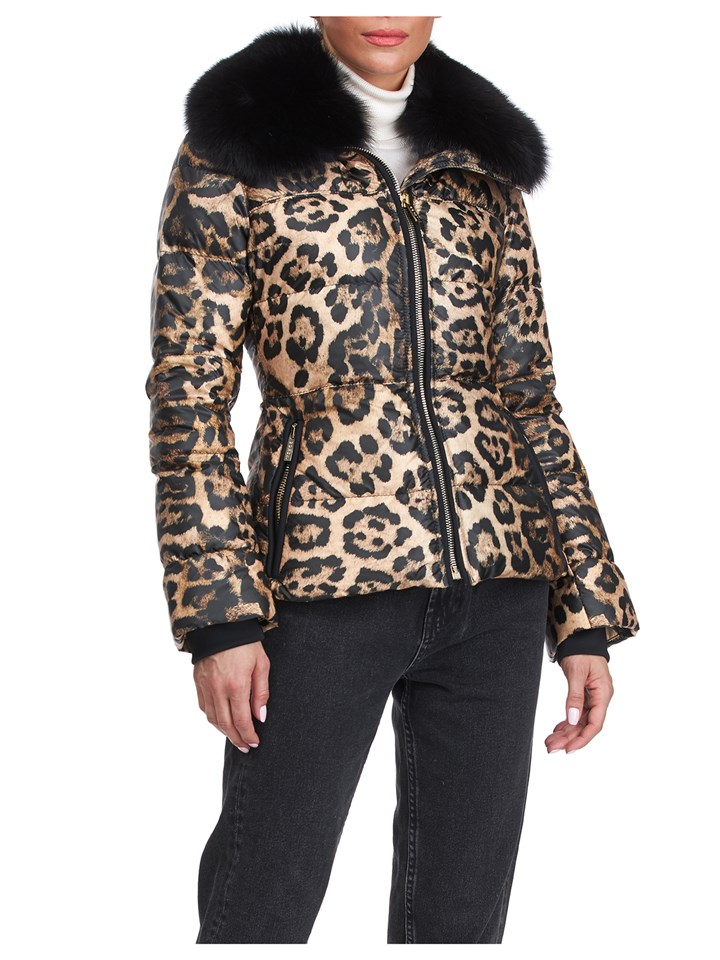 Gorski Woman's Apres-ski Leopard Print  Jacket with Detachable Fox Fur Collar