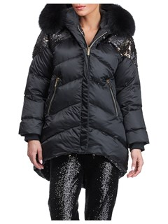 Gorski Woman's Black Apres-Ski Jacket with Detachable Fox Fur Hood