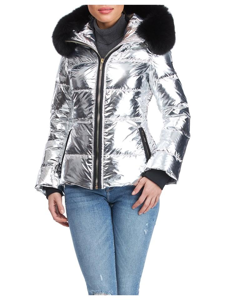 Gorski Woman's Silver Rainbow Apres-Ski Jacket with Detachable Fox Fur Collar