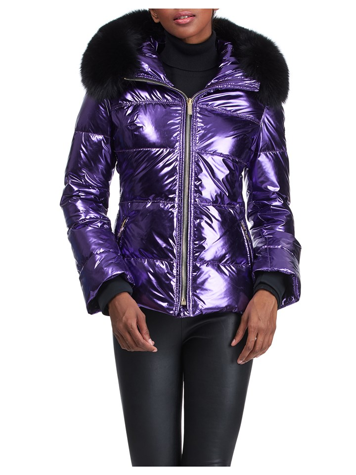 Gorski Woman's Purple Rainbow Apres-Ski Jacket with Detachable Fox Fur Collar