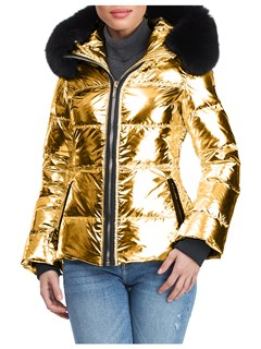 Gorski Woman's Gold Rainbow Apres-Ski Jacket with Detachable Fox Fur Collar