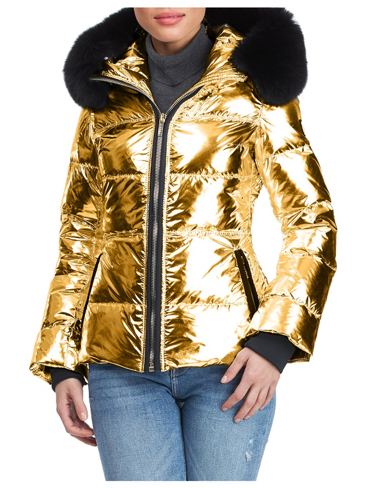 Gorski Woman's Gold Rainbow Apres-Ski Jacket with Detachable Fox Fur Collar
