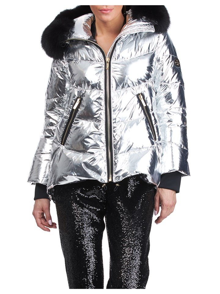 Gorski Woman's Silver Rainbow Shiny Technical Fabrick with Detachable Fox Fur Trimmed Hood