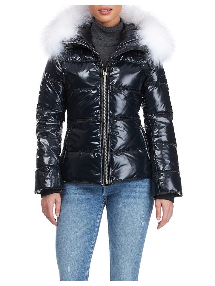 Gorski Woman's Black Apres-Ski Shiny Technical Fabric with Detachable Fox Fur Trimmed Hood