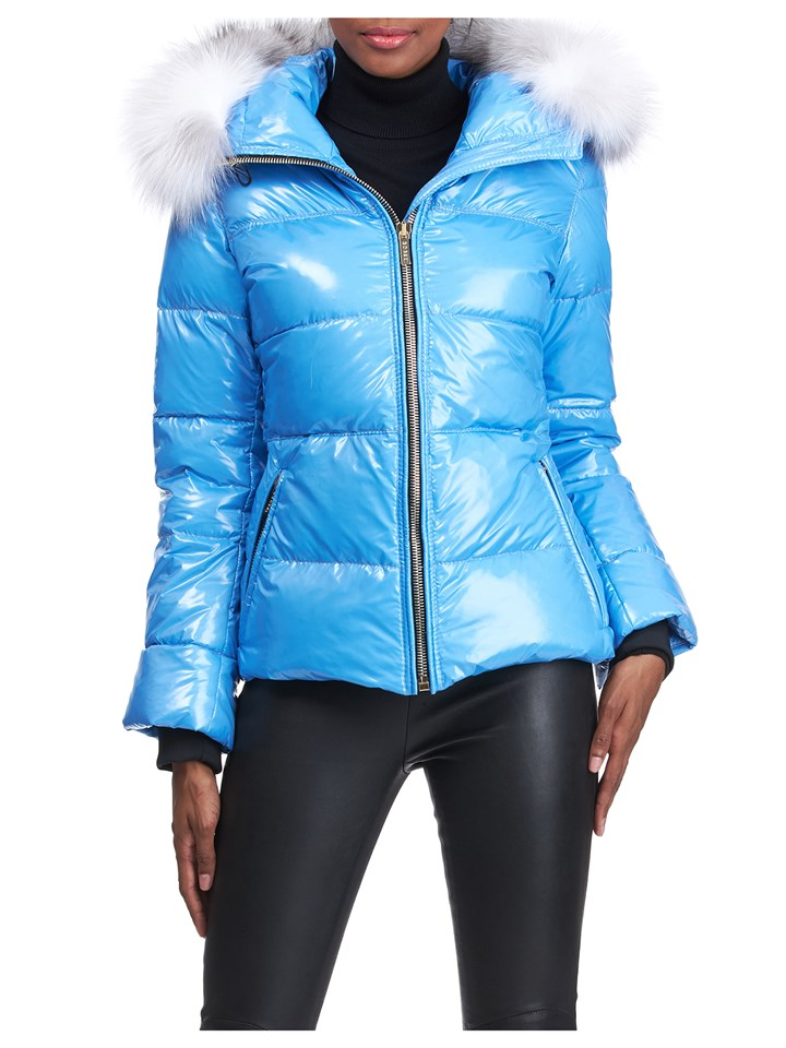 Gorski Woman's Blue Apres-Ski Shiny Technical Fabric with Detachable Fox Fur Trimmed Hood