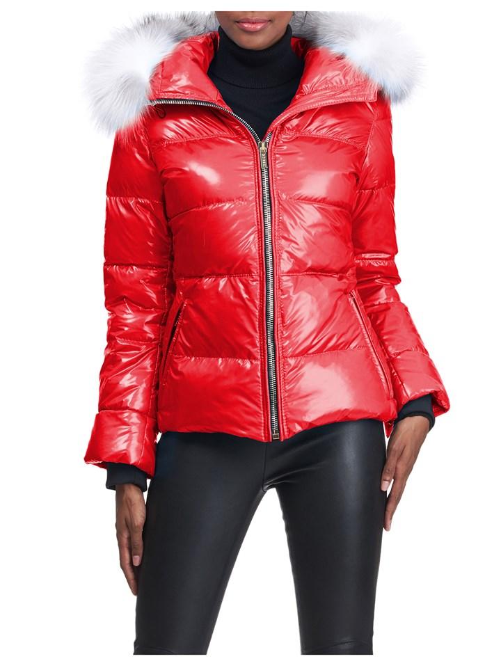 Gorski Woman's Red Apres-Ski Shiny Technical Fabric with Detachable Fox Fur Trimmed Hood