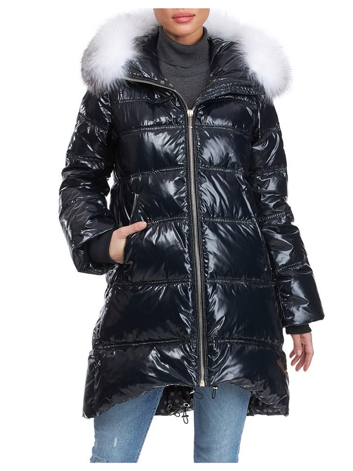Gorski Woman's Black Quilted Apres-ski Jacke with Detachable Fox Fur Trimmed Hood