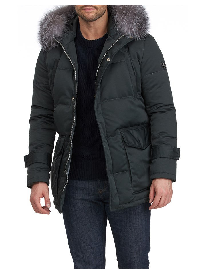 Gorski Men's Military Apres-Ski Parka with Detachable Fox Fur Trimmed Hood