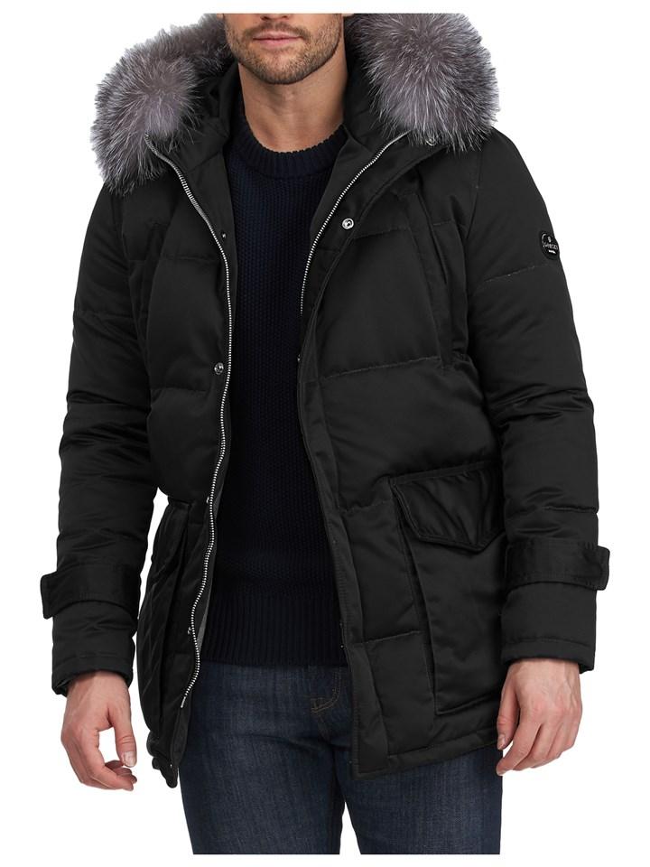 Gorski Men's Black Apres-Ski Parka with Detachable Fox Fur Trimmed Hood